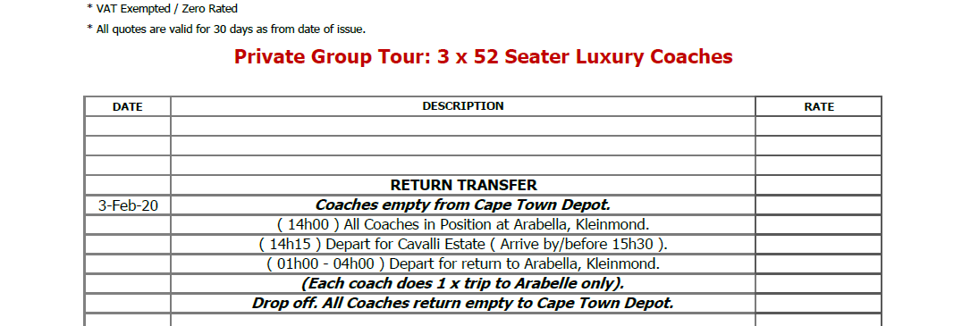 Local Bus Hire Prices for Return Dinner Transfer in Cape Town