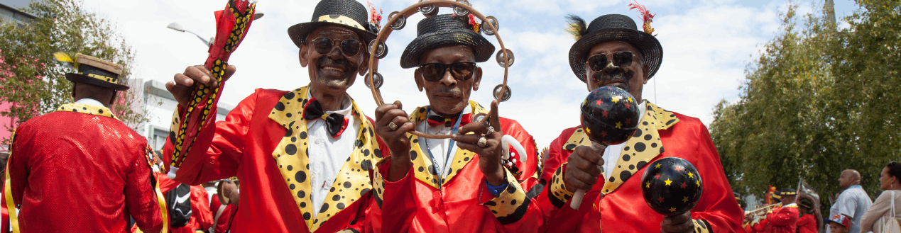 Three Cape Town Minstrel Men in Celebration